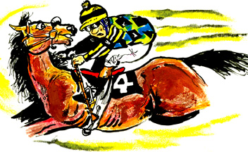 Below Are Some Color Horse Racing Cartoons Shown On The Back Cover